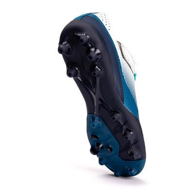 Chaussure de football enfant à scratch AGILITY 500 MG gris et bleu