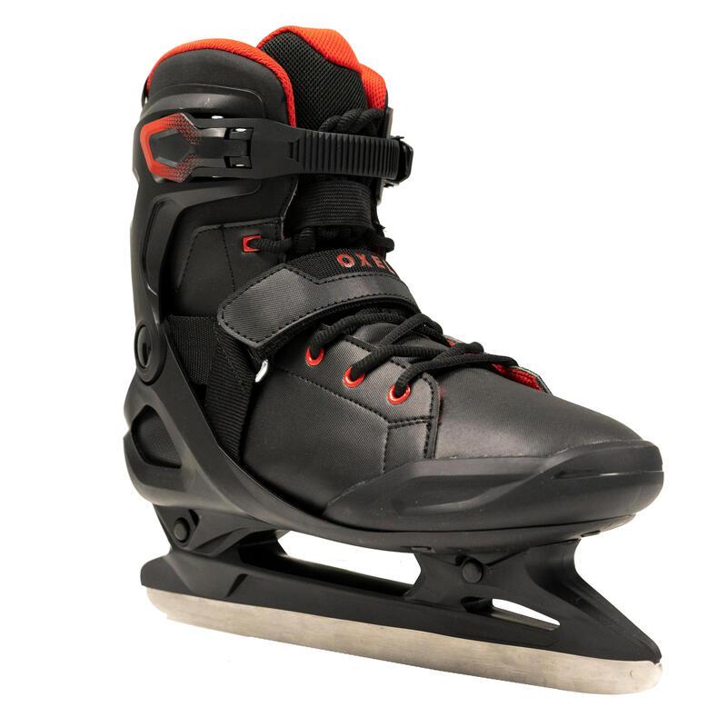 Patines sobre hielo adulto FIT500 negro y rojo hombre