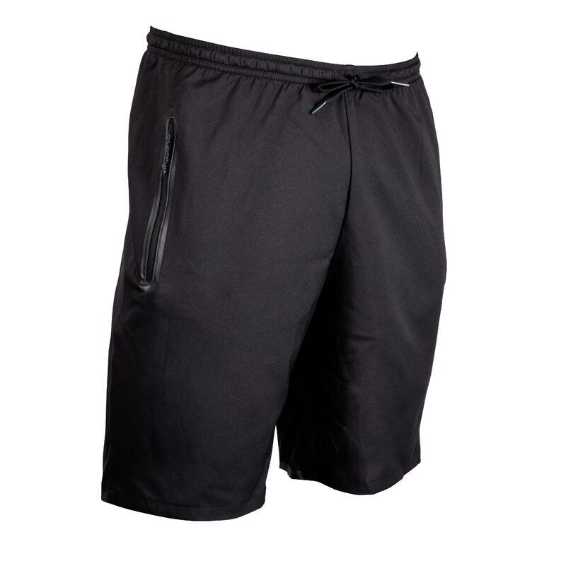 Short de football avec poches zippées adulte F500Z noir et carbone