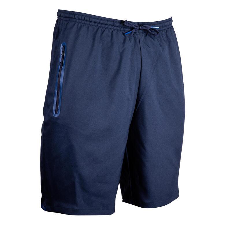Fotbalové kraťasy s kapsami na zip F500Z tmavě modré