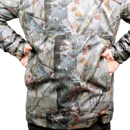 WARM HUNTING JACKET 100 CAMOUFLAGE BROWN