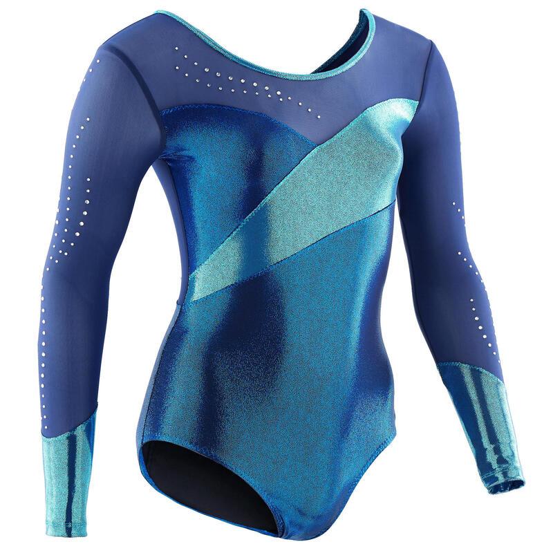 Girls' Artistic Gymnastics Long-Sleeved Leotard - Blue/Rhinestones