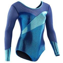 Justaucorps manches longues de Gymnastique Artistique Féminine bleu strass