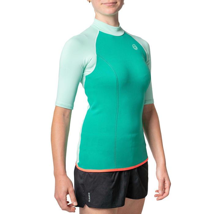 女款氯丁橡膠(neoprene)保暖短袖上衣100-淺碧藍色