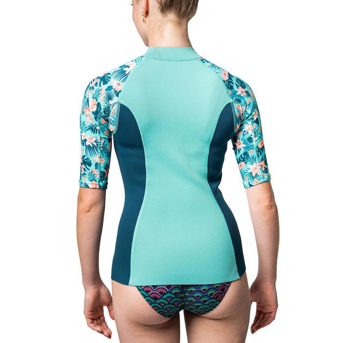 Top thermique néoprène 500 Manches courtes Femme turquoise