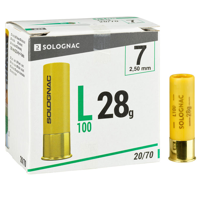 CARTOUCHE L100 28g CALIBRE 20/70 PLOMB N°7 X25