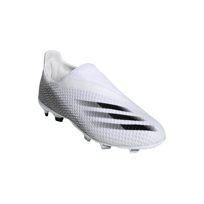 Voetbalschoenen kind X Ghosted.3 Laceless FG wit/zwart