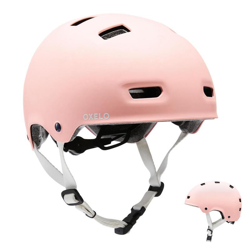 Helm voor inlineskaten skateboarden steppen MF500 Bridal pink