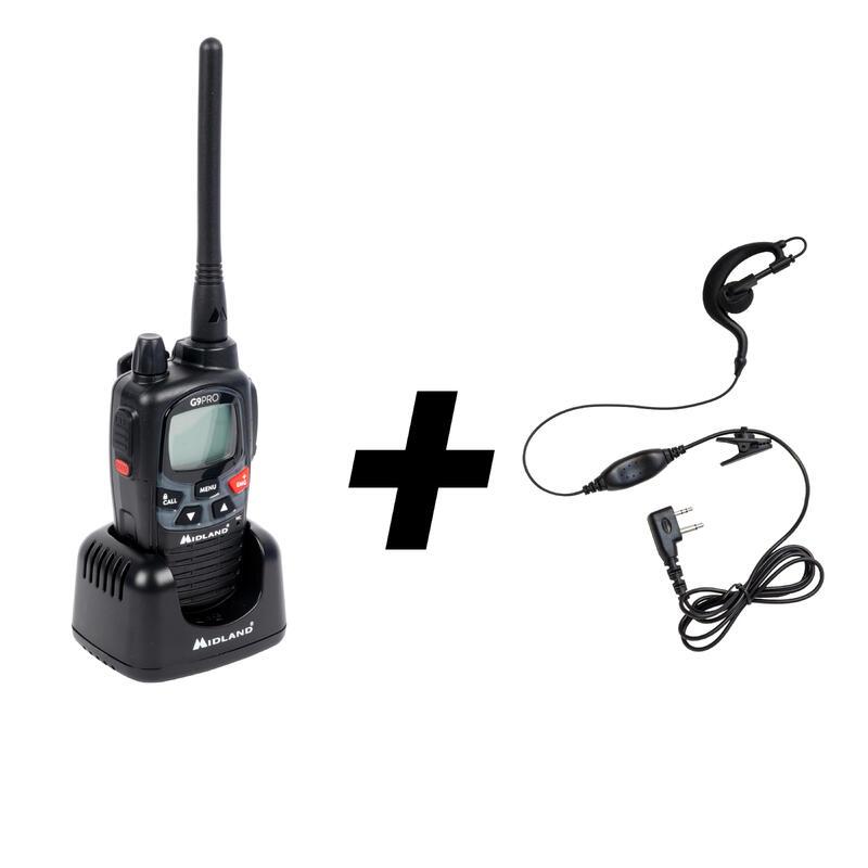 Walkie-Talkie Emisora Midland G9 Pro + Casco Auricular 7 km Alcance