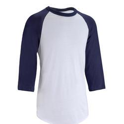 成人款七分袖棒球T恤BA 550-白色/藍色