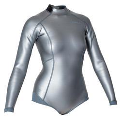 女款1.5 mm氯丁橡膠(neoprene)滑面自由潛水上衣FRD 500-灰色