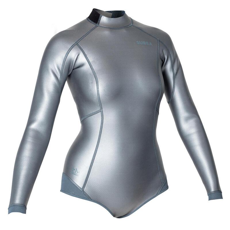 Top shorty manches longues néoprène 1,5mm Apnée FRD 500 Femme glide skin metalic