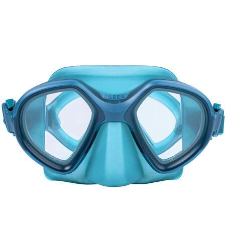 Freediving double-lens mask FRD 500 - blue, reduced volume