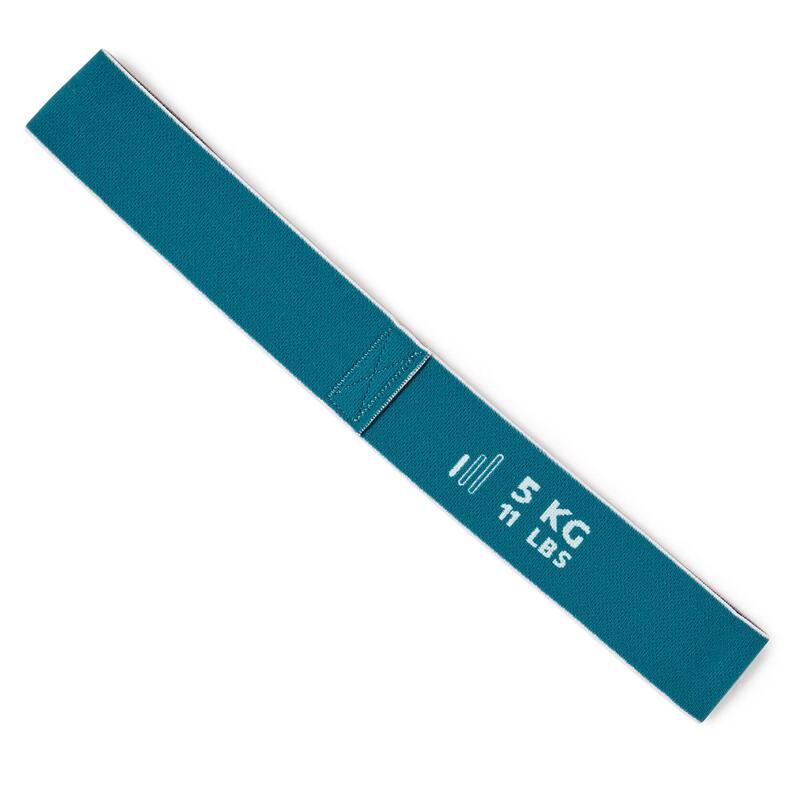 Korte weerstandsband voor fitness 5 kg textiel turquoise