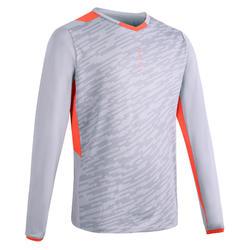 青少年款長袖運動衫F500 灰色配螢光橘色
