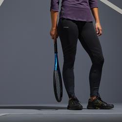 Thermo tennis legging dames TH 900 zwart met zilverkleurige lijnen