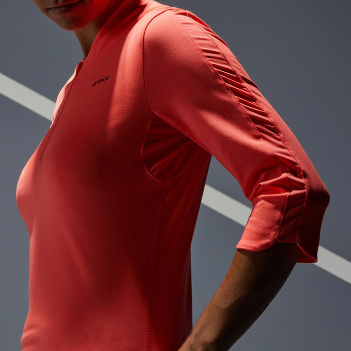 T SHIRT DE TENNIS FEMME MANCHE 3/4 TS DRY 900 CORAIL
