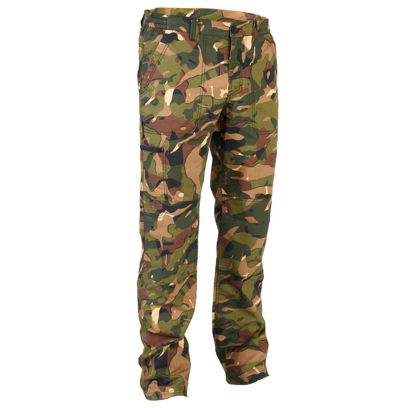 Pantalon léger chasse 100 camouflage woodland V1 vert et marron