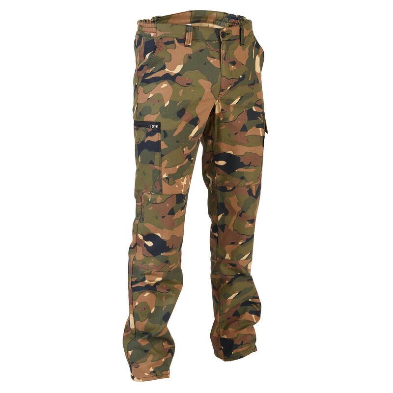 Pantalon chasse camouflage et résistant Steppe 300 camo woodland vert/marron