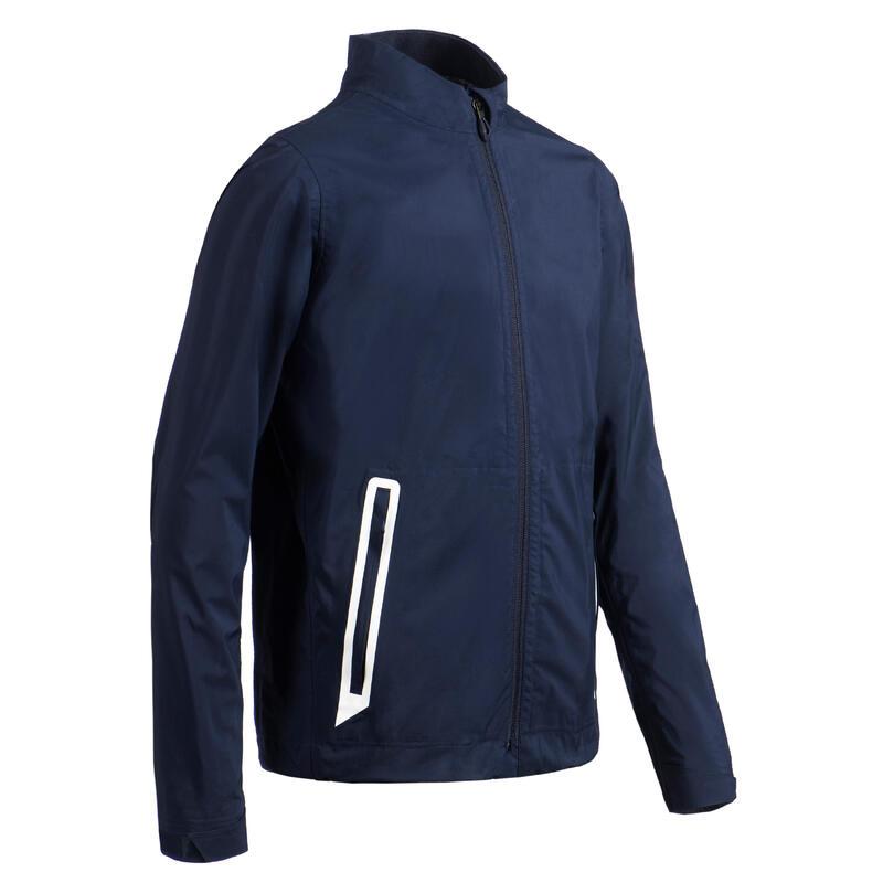 Kids golf waterproof rain jacket RW500 navy blue