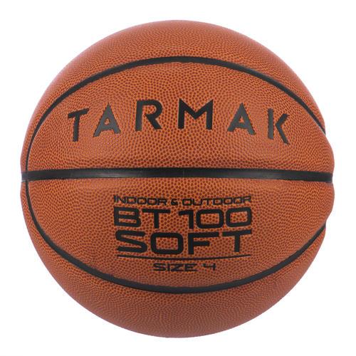 Ballon de basket BT100 taille 4 orange pour enfant jusqu'à 6 ans pour débuter.