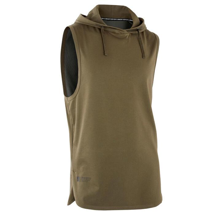 T-Shirt ärmellos mit Kapuze Krafttraining khaki