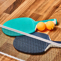 Table Tennis Set with Posts, Adjustable Rollnet, 2 Bats and 2 Balls - White/Grey