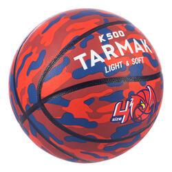 Ballon de basket K500 Aniball rouge bleu pour enfant basketteur débutant.