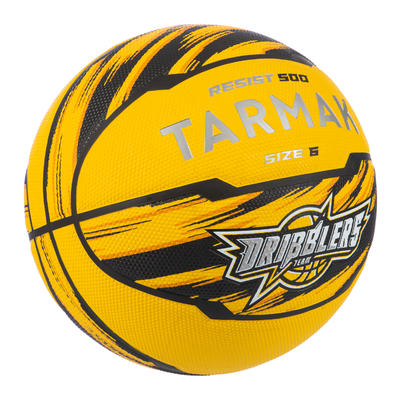 Balón baloncesto R500 T6 amarillo, para niñas, niños y mujeres, para iniciarse