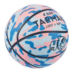 Ballon de basket K500 Aniball bleu rose pour enfant basketteur débutant.