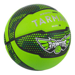 Kids' Size 5 (Up to 10 Years) Beginner Basketball R500 - Black/Green.