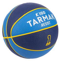 Mini ballon de basketball enfant Mini B taille 1. Jusqu'à 4 ans. Bleu