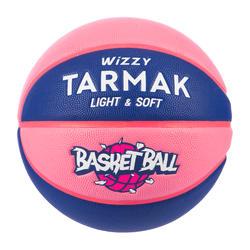 兒童款(10歲以下)5號籃球Wizzy - 藍色配粉紅色。