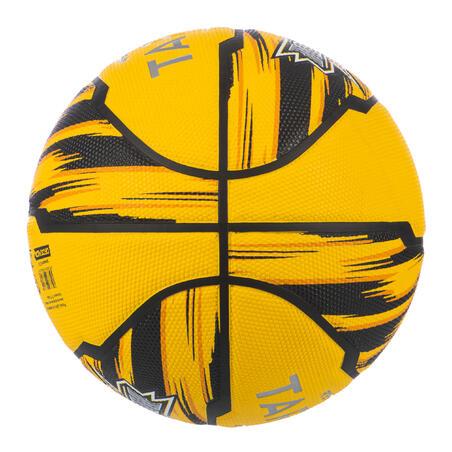 Balón básquetbol R500 T6 amarillo, para niñas, niños y mujeres, para iniciarse