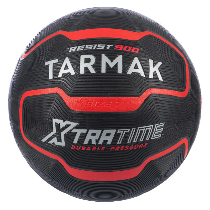 Balón básquetbol adulto R900 talla 7 rojo negro. Resistente y muy adherente.