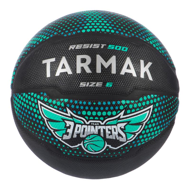 Ballon de basket R500 taille 6 vert noir pour fille garçon et femme pour débuter