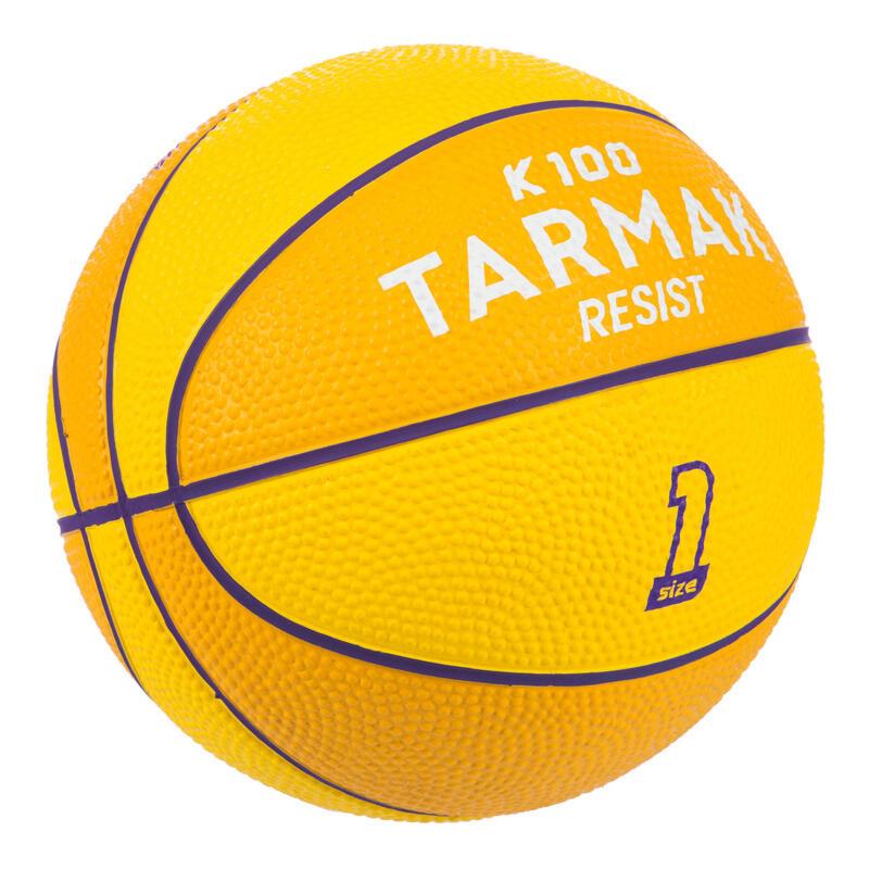 Mini ballon de basketball enfant Mini B taille 1. Jusqu'à 4 ans. Jaune Violet
