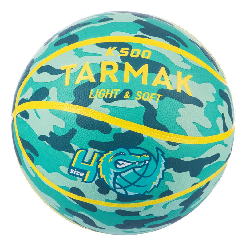 Ballon de basket K500 Aniball vert jaune pour enfant basketteur débutant.