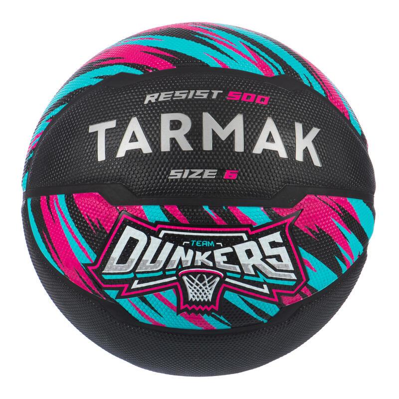 Ballon de basket R500 taille 6 Noir Rose pour fille garçon et femme pour débuter