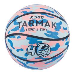 兒童款初學者籃球Aniball K500-藍色配粉紅色。