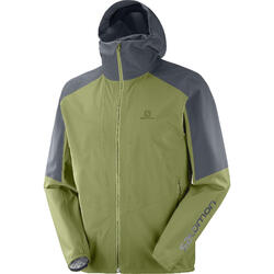 Casaco impermeável de caminhada - Salomon Outline - Verde Cinzento Homem