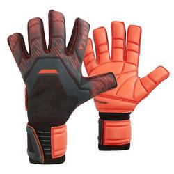 Keepershandschoenen voetbal volwassenen F900 platte naden zwart/rood