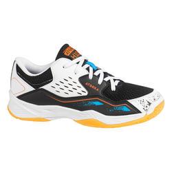 Chaussures de handball enfant H100 avec lacets blanc/noir