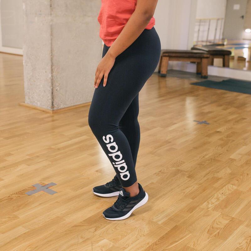 Legging fitness 7/8 coton majoritaire ceinture basse femme - bleu marine blanc