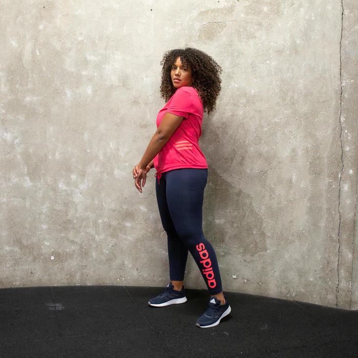 Dameslegging voor pilates en lichte gym marineblauw met logo in roze
