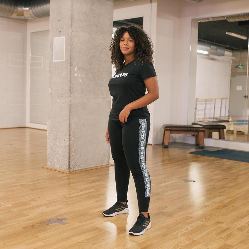 T-Shirt Adidas Slim Femme Noir Imprimé