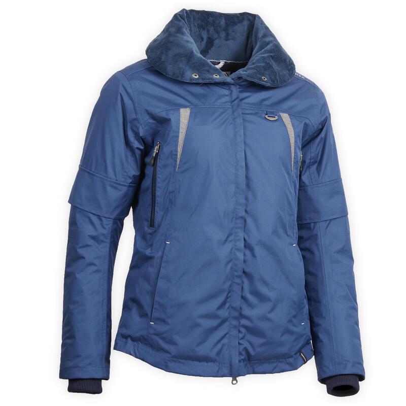Veste chaude et imperméable équitation femme TOSCA bleu nuit