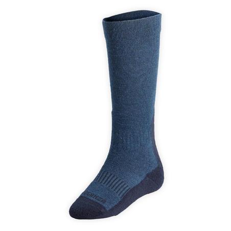 Chaussettes chaudes équitation enfant 500 WARM bleu nuit