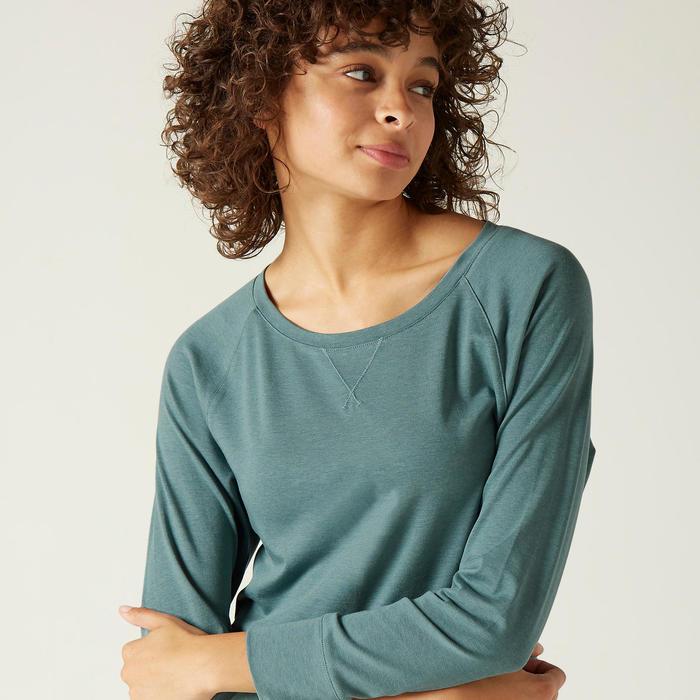T-Shirt Manches Longues 500 Femme Turquoise avec Imprimé