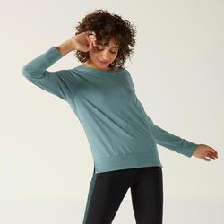 Shirt met lange mouwen voor dames 500 turquoise met print